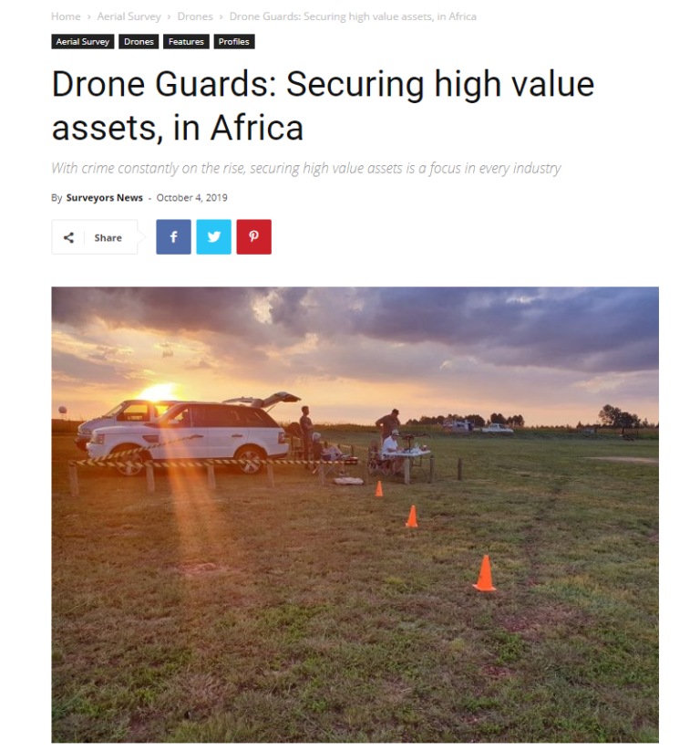 Drone Guards featured in Africa Surveyors on line
