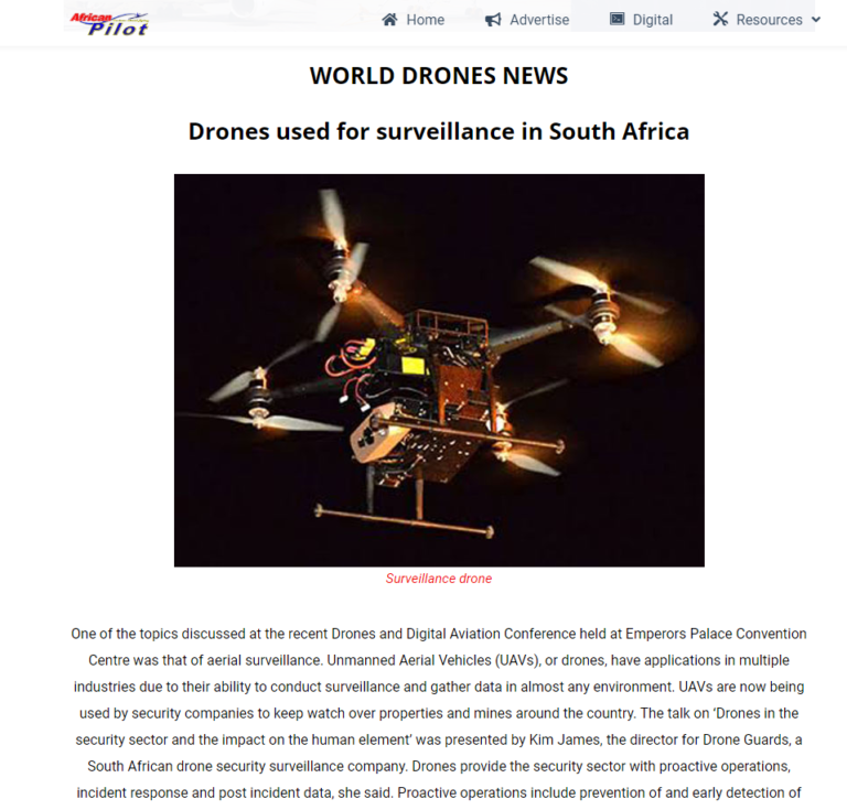 Drone Guards in African Pilot Magazine